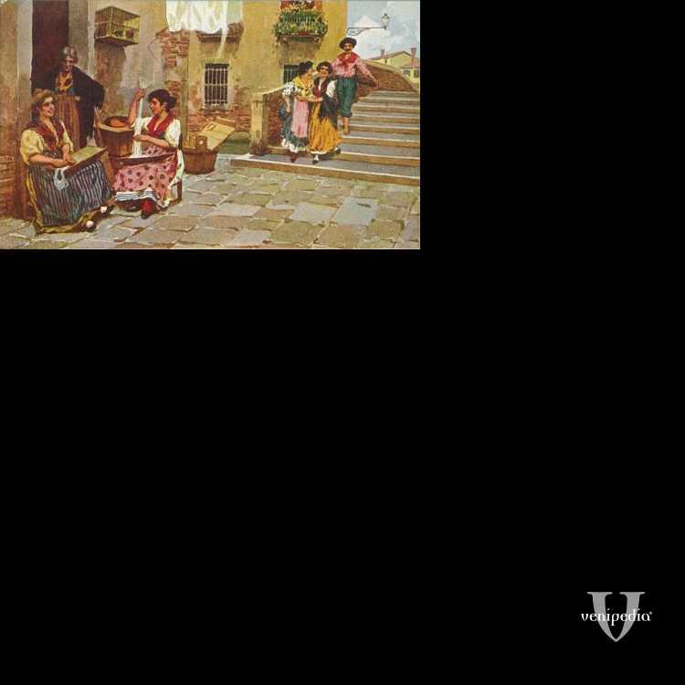 Donne veneziane, alcune intente nell'arte del merletto, altre in passeggiata.