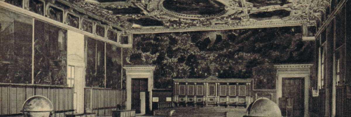 La Sala del Maggior Consiglio all'interno di Palazzo Ducale luogo in cui venivano prese le più importanti decisioni dello Stato veneziano.