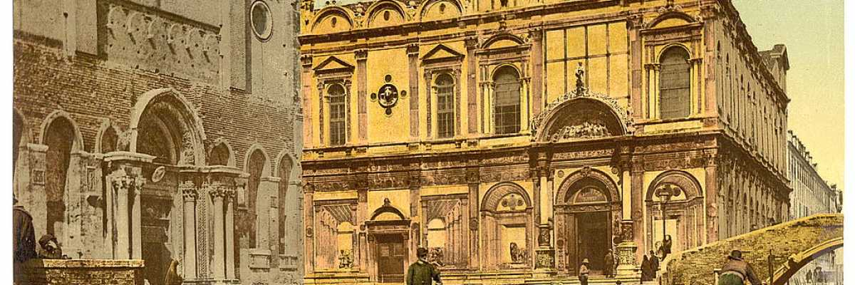 La Scuola Grande di San Marco, sede dell'Ospedale Civile di Venezia (Library of Congress - Detroit Publishing Company).
