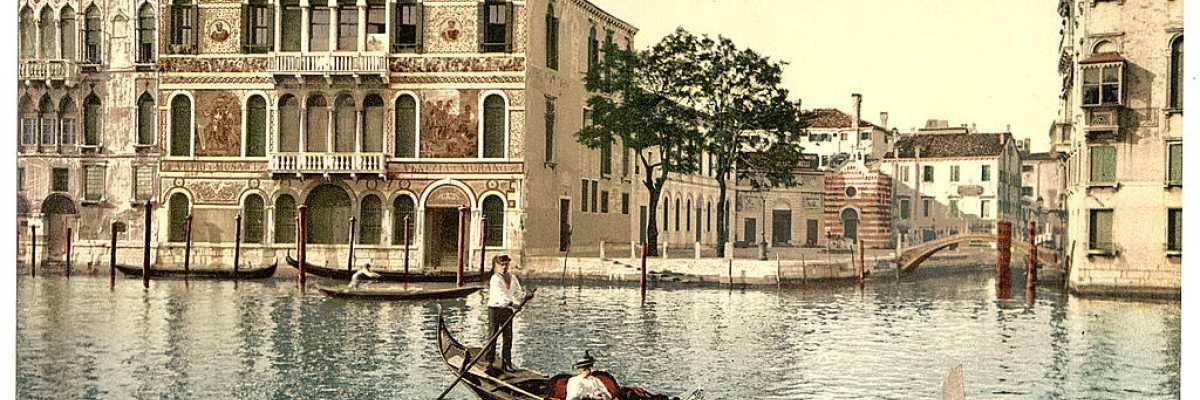 Palazzo Barbarigo al centro e, alla sua sinistra, Palazzo Da Mula Morosini (Library of Congress - Detroit Publishing Company).