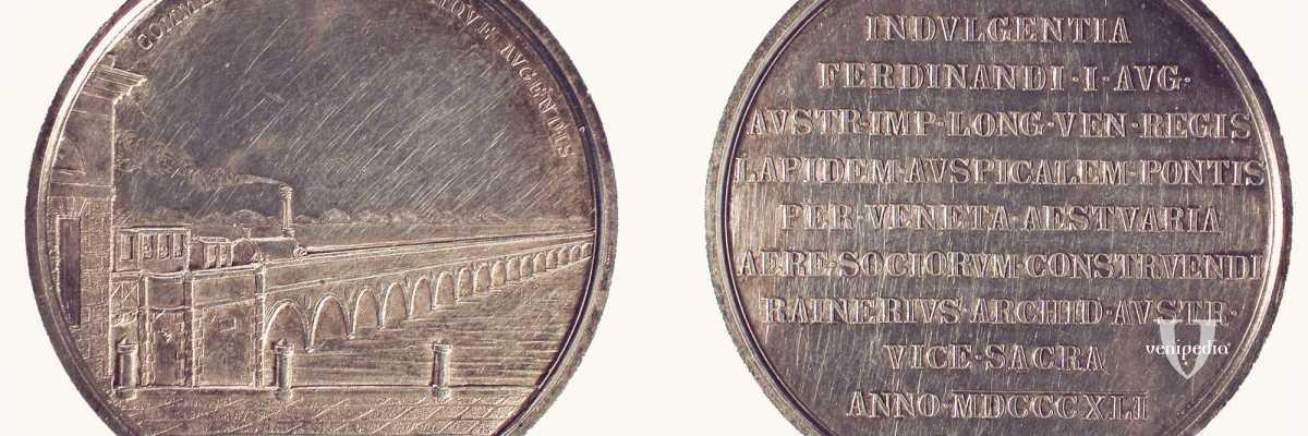Medaglia celebrativa: posa prima pietra del ponte ferroviario sulla Laguna di Venezia. Luigi Ferrari, 1841.