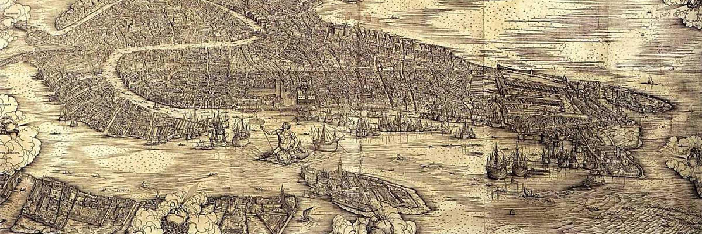 La veduta di Venezia a volo d'uccello di Jacopo de Barbari, 1500.