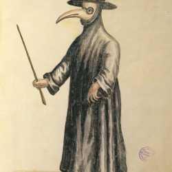 L'abito del medico durante la peste, disegnato da Jan van Grevenbroeck e oggi conservato nel Museo Correr.