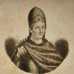 Incisione raffigurante il doge Teodato Ipato.
