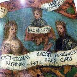 Affresco veneziano raffigurante Caterina con il marito Giacomo II e il figlio Giacomo III.