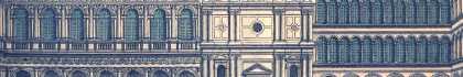 """Tavola illustrata ad acquerello colorato raffigurante la Chiesa di San Geminiano. Immagine tratta dal libro """"Canal Grande e Piazza San Marco, descritti da Antonio Quadri, rilevati e incisi da Dionisio Moretti"""", edito da Supernova."""