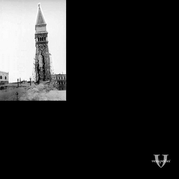 Simulazione del momento del crollo del Campanile di San Marco.