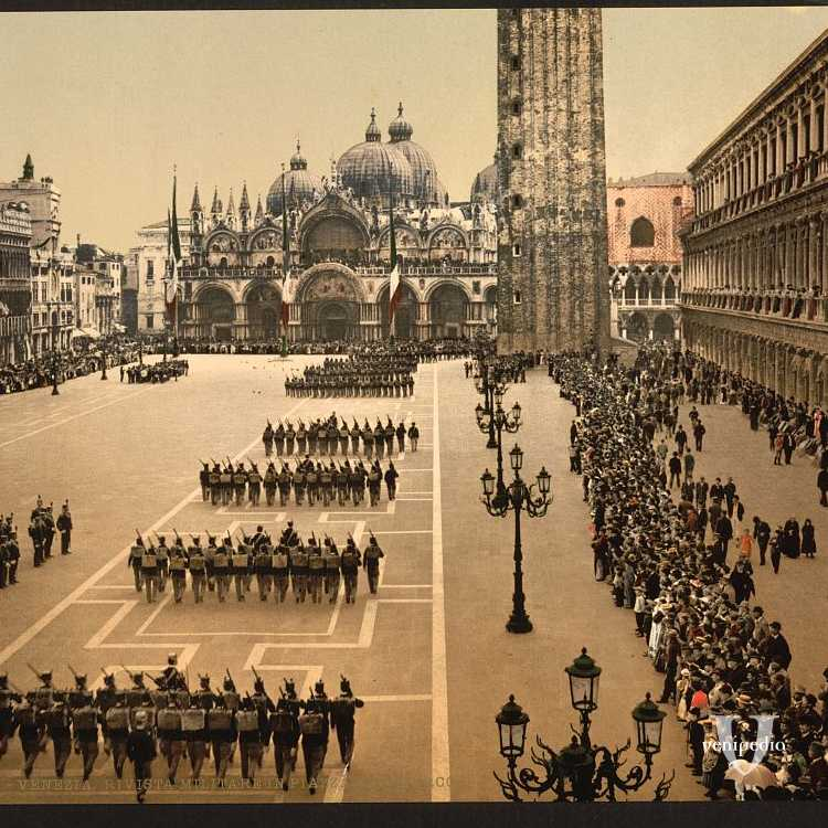 Una parata militare a Piazza San Marco (Library of Congress - Detroit Publishing Company),