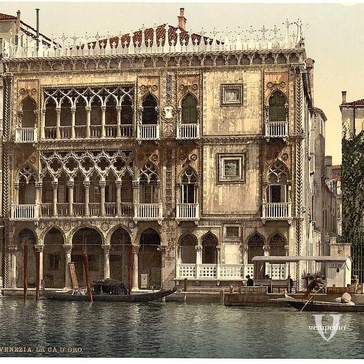 La Ca' d'Oro, noto palazzo che si affaccia sul Canal Grande che accoglie la Galleria Giorgio Franchetti (Library of Congress - Detroit Publishing Company).