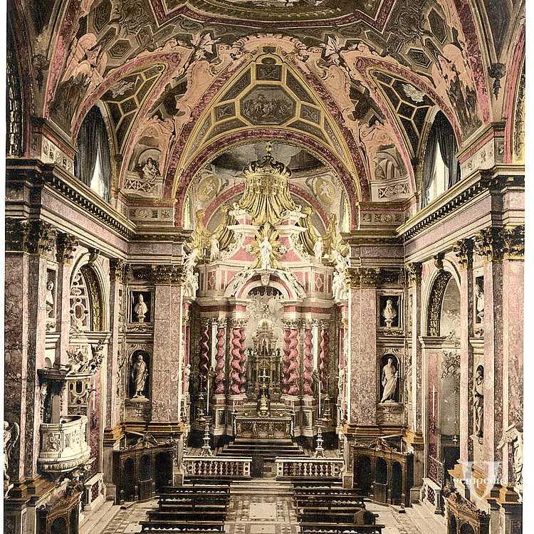 Interno della Chiesa di Santa Maria di Nazareth, più comunemente nota con il nome di Chiesa degli Scalzi (Library of Congress - Detroit Publishing Company).