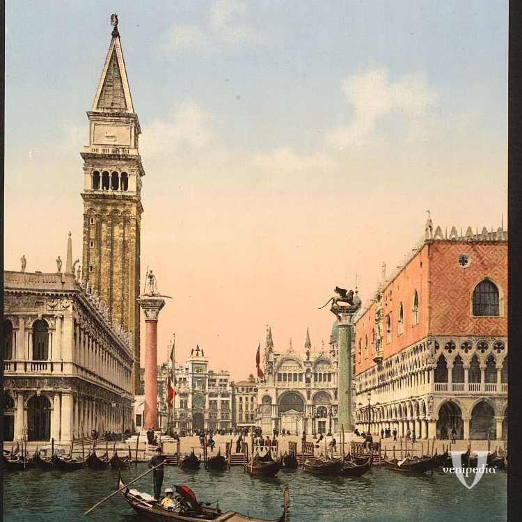 L'imbarcazione più famosa di Venezia, qui con la piazzetta di San Marco nello sfondo (Library of Congress - Detroit Publishing Company).