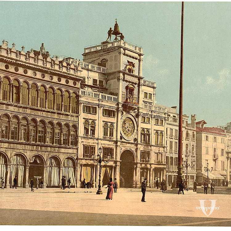 Visuale sul palazzo della Torre dell'Orologio chiamato anche Torre dei Mori e sulla piazza San Marco (Library of Congress - Detroit Publishing Company).