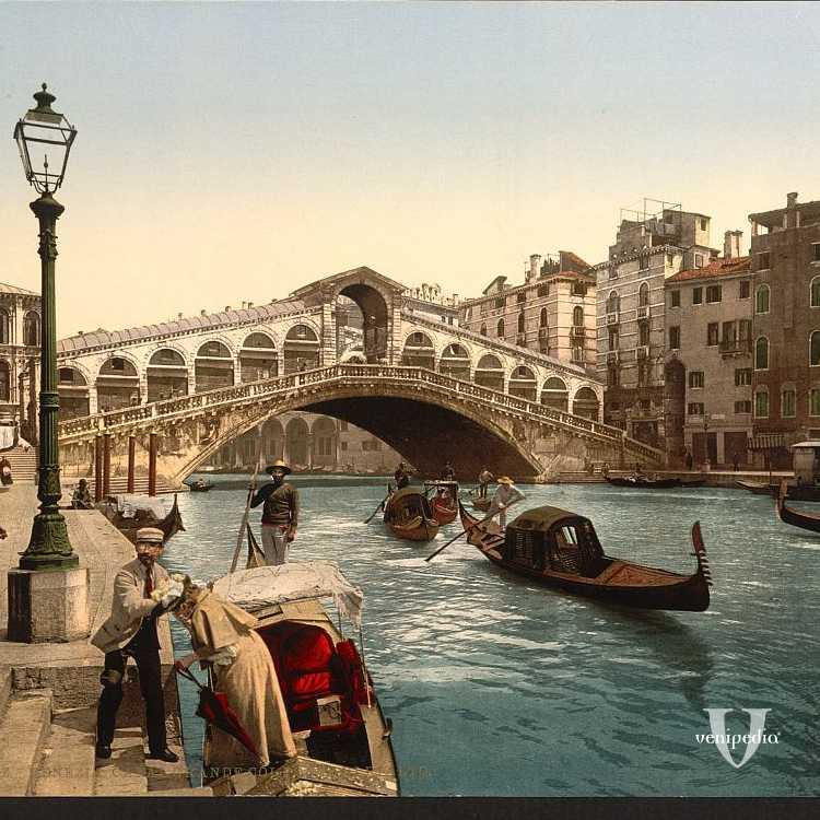 Romantica immagine del ponte di Rialto (Library of Congress - Detroit Publishing Company).
