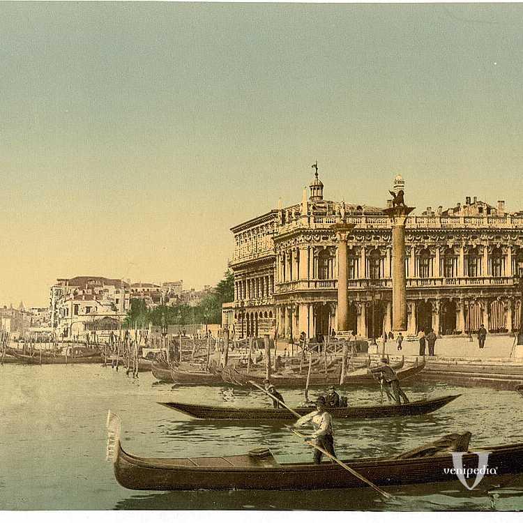 Il bacino di San Marco e, tra le varie imbarcazioni, un sandalo, tipica barca veneziana caratterizzata dal fondo piatto (Library of Congress - Detroit Publishing Company).