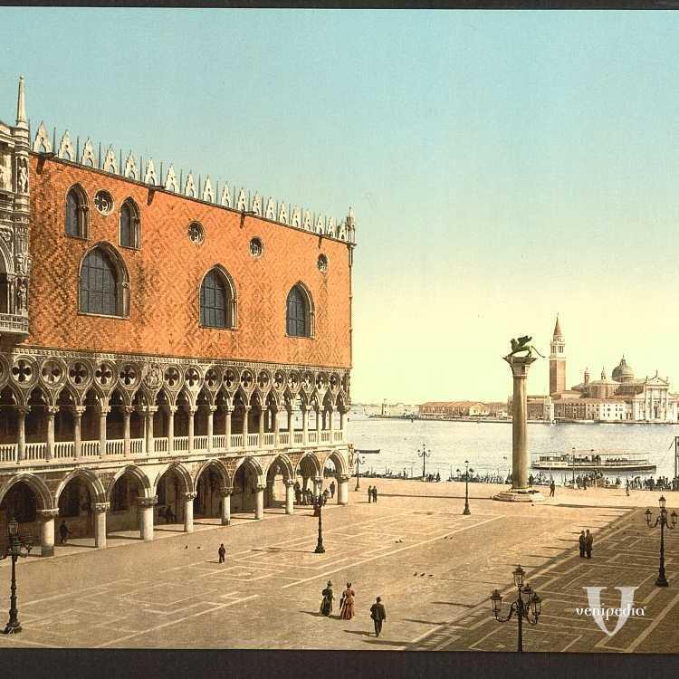 Piazzetta di San Marco: Palazzo Ducale sulla sinistra e l'isola di San Giorgio Maggiore tra le colonne di San Marco e San Todaro (Library of Congress - Detroit Publishing Company).