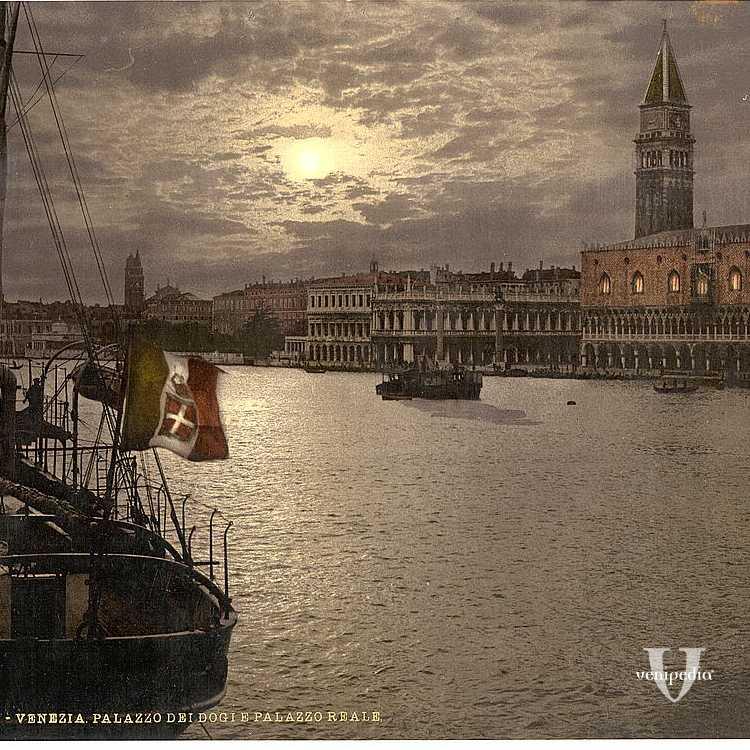 Imbarcazioni lungo il Bacino di San Marco (Library of Congress - Detroit Publishing Company).