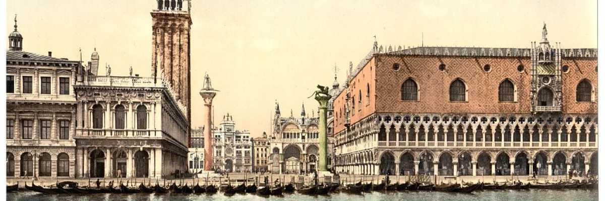 Chissà quanti mercanti e marinai sono rimasti stupiti e ammaliati da questo splendido panorama sbarcando a Venezia dal Bacino di San Marco (Library of Congress - Detroit Publishing Company).