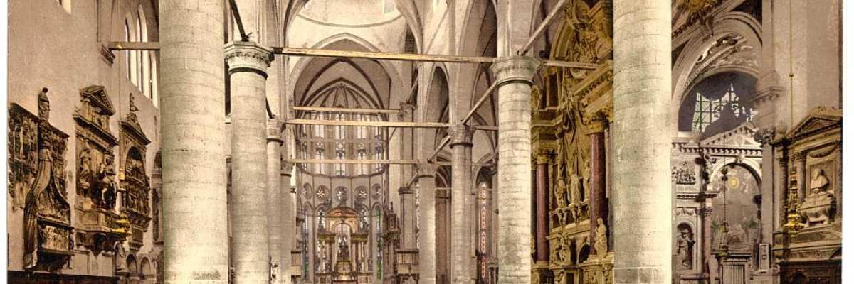 La navata interna della Basilica dei Santi Giovanni e Paolo (Library of Congress - Detroit Publishing Company).