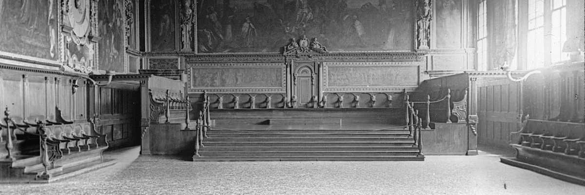 La Sala del Senato all'interno di Palazzo Ducale. Qui si riuniva il Consiglio dei Pregadi ossia il governo stesso della Repubblica (Brooklyn Museum).
