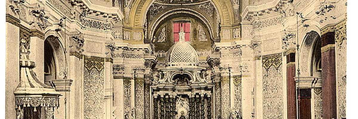 L'interno della chiesa di Santa Maria Assunta, detta anche dei Gesuiti (Library of Congress - Detroit Publishing Company).