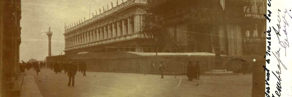 Campanile in ricostruzione viaggiata anno 1908