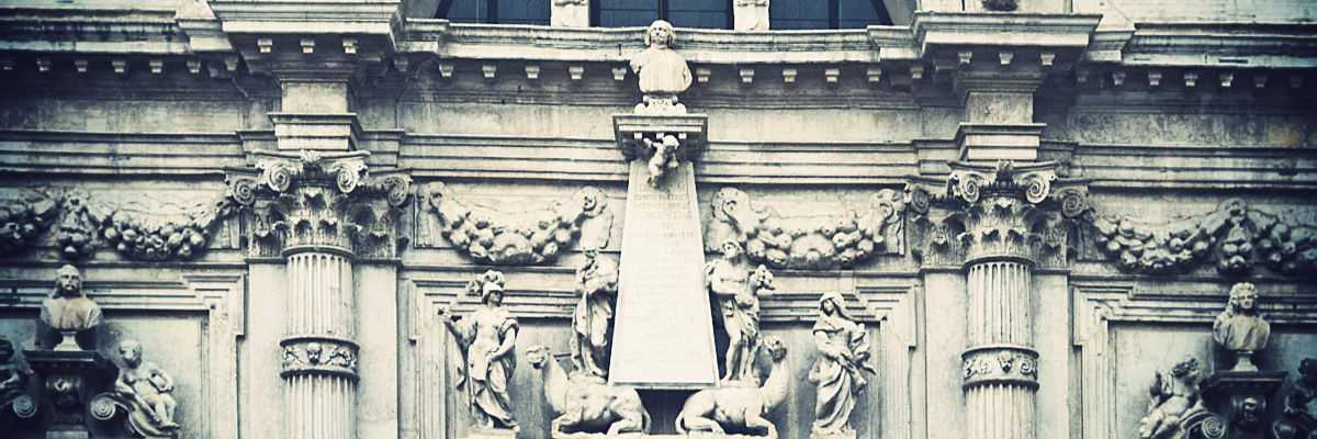 The bust of Vincenzo Fini can be found in the central part of the facade on top of an oblisque supported by camels