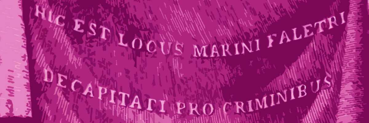 Il drappo esposto in sostituzione al ritratto del doge Marin Faliero.