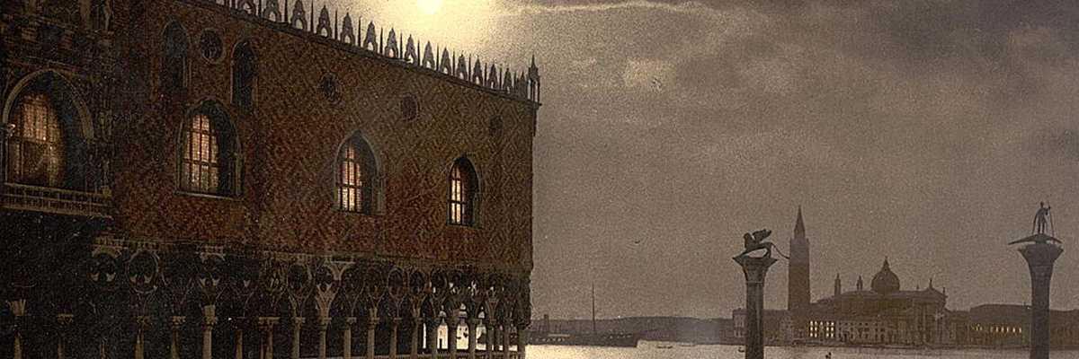 Veduta notturna di Palazzo Ducale e San Giorgio — (Detroit Publishing Company/National Library of Congress)