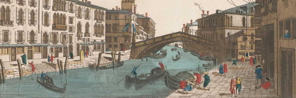 Scene di vita presso il Ponte delle Guglie, anonimo, ca. 1700-1799 (Rijksmuseum)