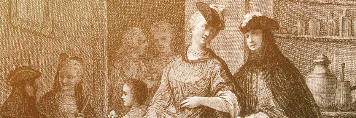 Incisione dell'epoca che ritrae una scena di vita in un caffè veneziano — (Archivio Venipedia/Bazzmann)