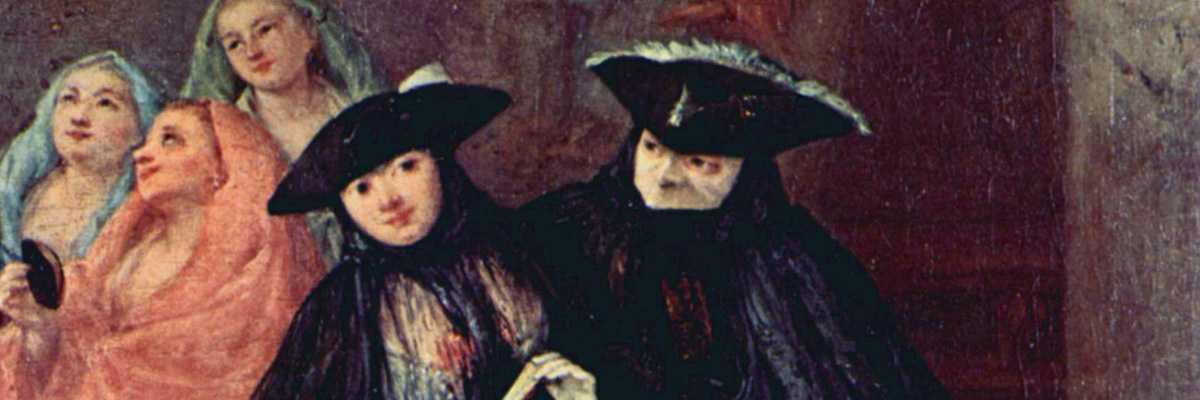 """Porzione della tela """"Ciarlatano"""" di Falca Pietro detto Longhi del 1757 conservato nel Museo del Settecento Veneziano a Cà Rezzonico."""