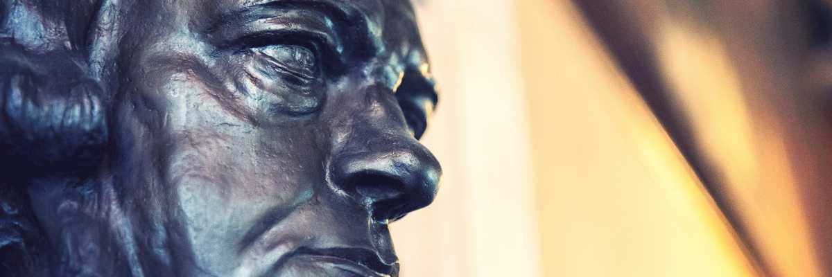 Detail of the bust of Daniele Manin exposed in the Tommaseo Room, in the Ateneo Veneto — (Archive Venipedia/Bazzmann)