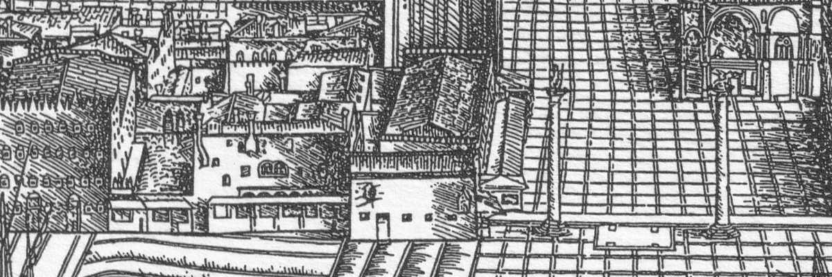 Il Palazzo della Zecca nella veduta di Jacopo de' Barbari — (Archivio Venipedia/Bazzmann)
