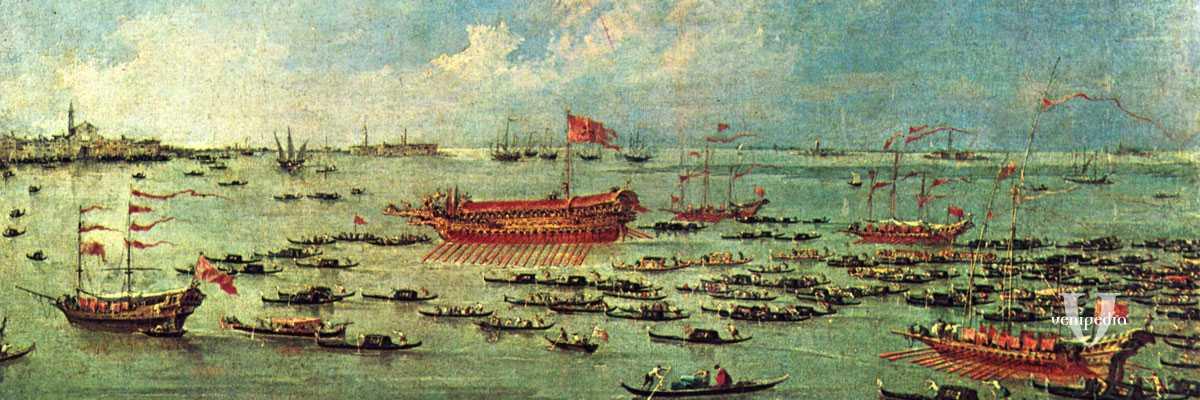 """Francesco Guardi, dipinto della serie: """"Le solennità dogali"""", scena: Il Bucintoro naviga verso san Nicolò di Lido, il giorno dell'Ascensione. Dipinto verso il 1775-1780."""