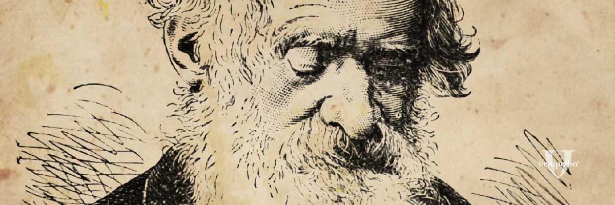 Particolare di incisione dedicata a Niccolò Tommaseo, realizzata da Václav Mára (ca. 1881)