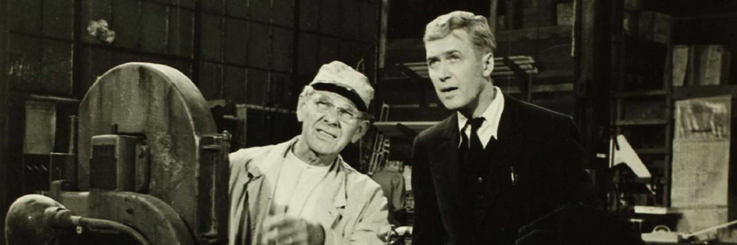 "The producer Leland Hayward with the actor Jimmy Sterar in the film ""The spirit of Saint Louis"""