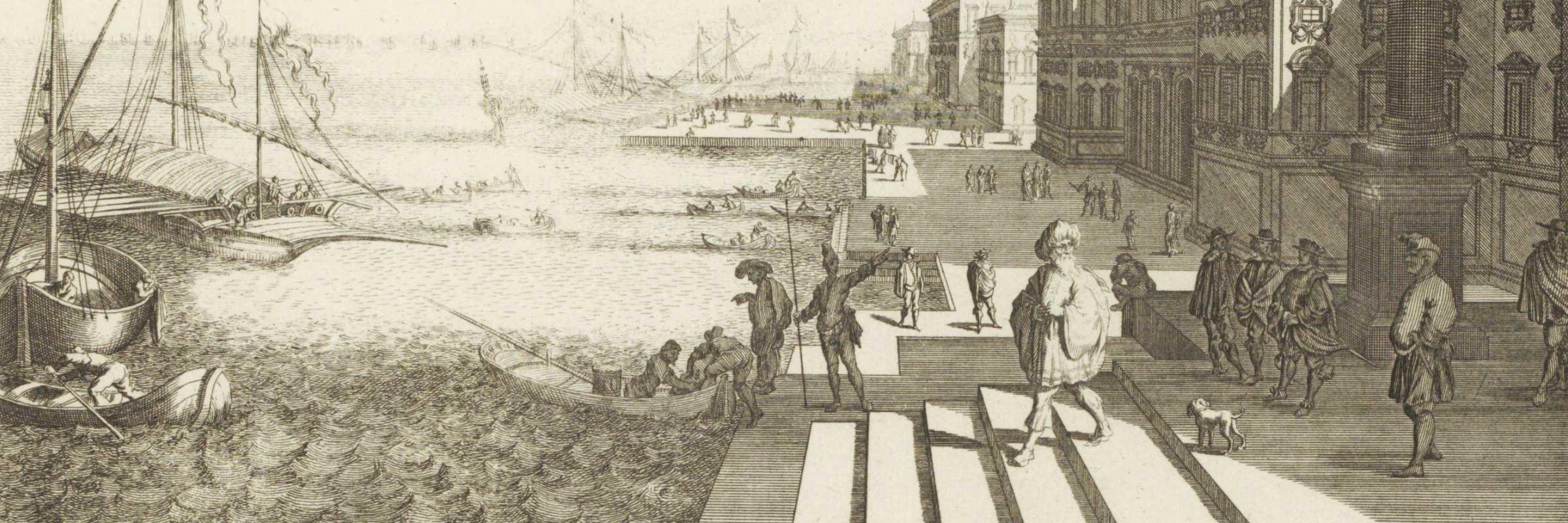 Vista di una banchina a Venezia, anonimo, ca. 1700 - ca. 1710 — (Rijksmuseum)
