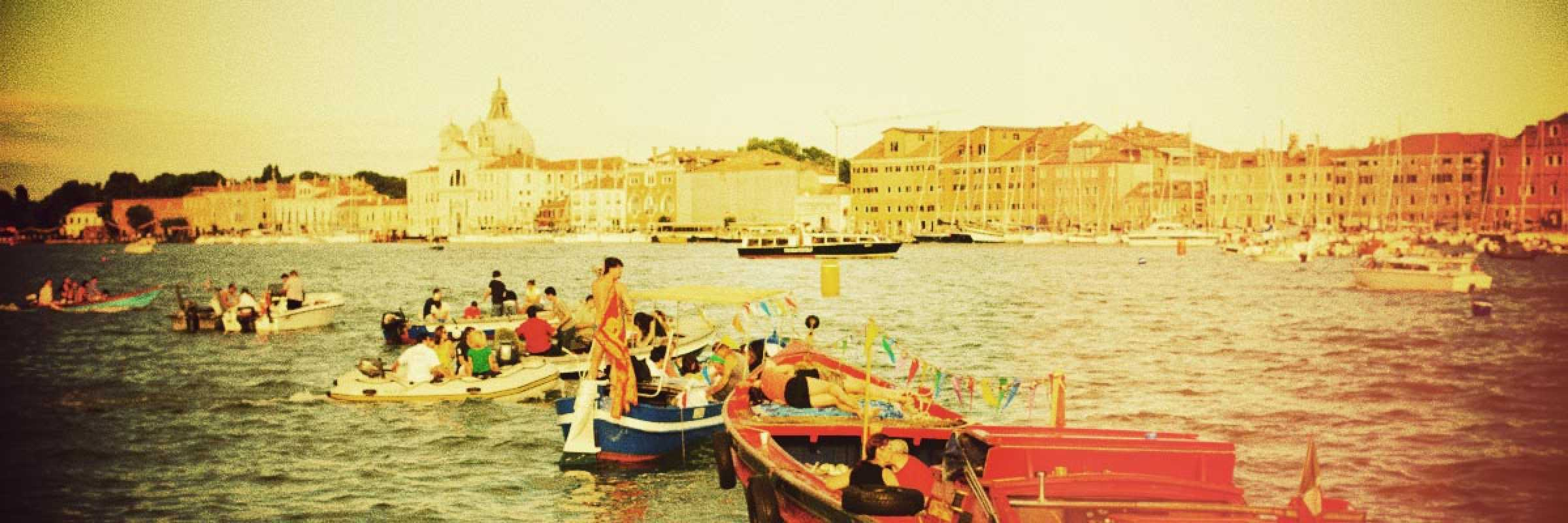 Group of boats in preparation for the Feast of the Redentore.