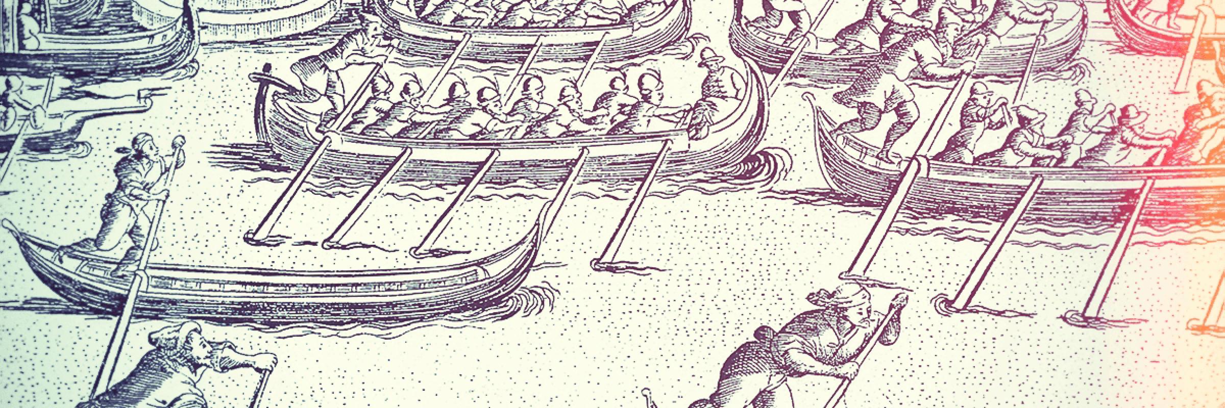Particolare di incisione che ritrae una regata in Canal Grande.