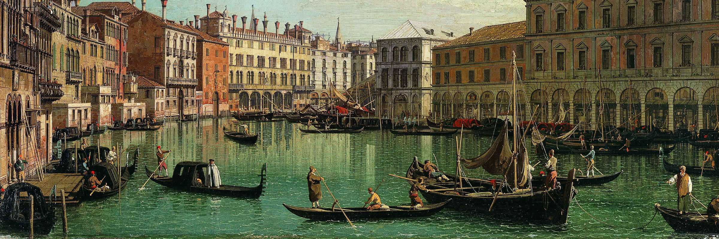 View over the Grand Canal towards Fondaco dei Tedeschi and Rialto Bridge, Canaletto (Giovanni Antonio Canal), 1730 - (Metropolitan Museum of New York)