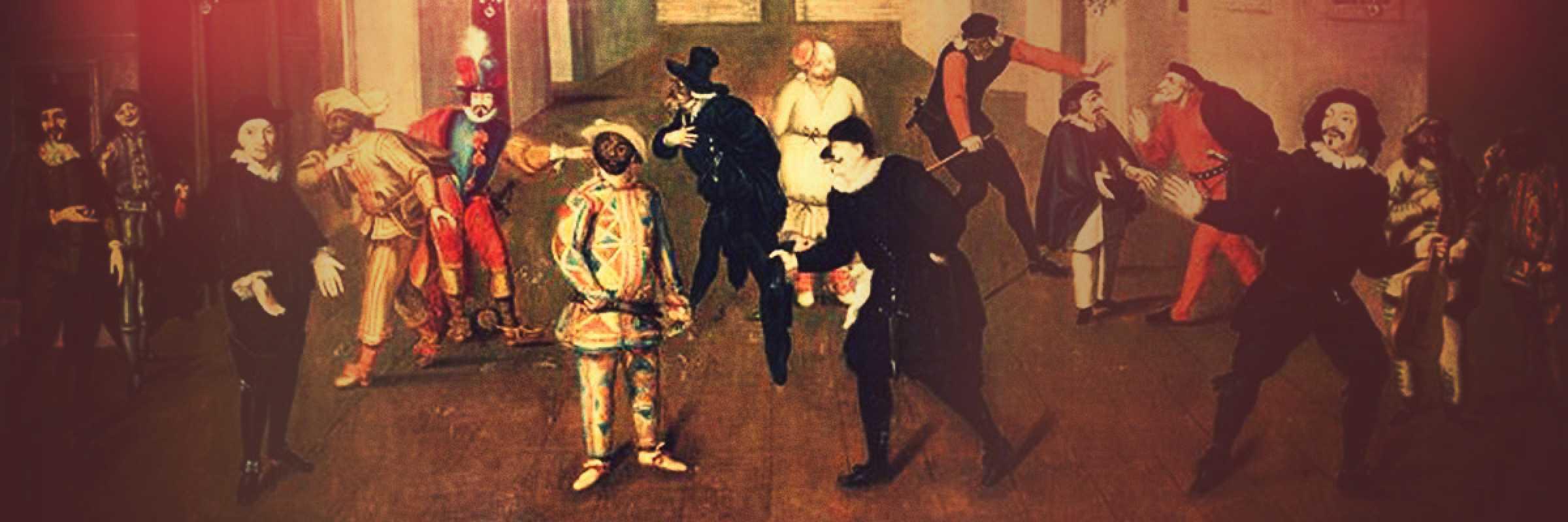 Quadro raffigurante alcune della maschere tipiche della commedia dell'arte. Artista anonimo.