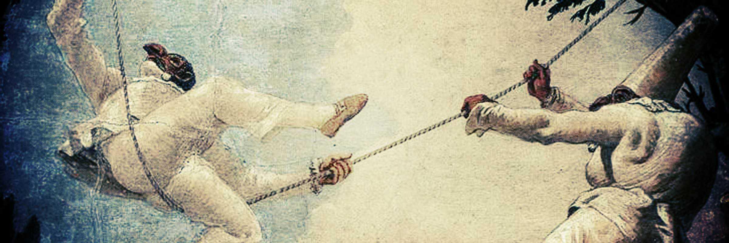 """Porzione dell'affresco """"L'altalena di Pulcinella"""" di Giandomenico Tiepolo realizzato nel 1791 - 1793 e conservato nel Museo del Settecento Veneziano, a Cà Rezzonico."""