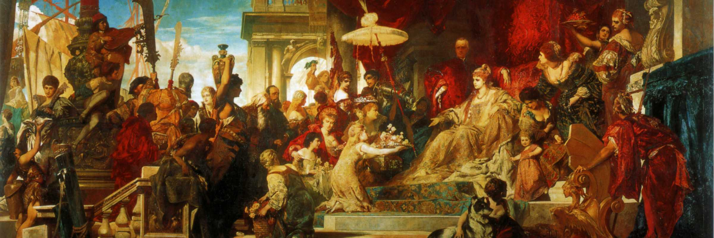 """Quadro di Johann Ferdinand Apollonius Makart """"Venezia rende omaggio a Caterina Cornaro"""", custodito presso Österreichische Galerie Belvedere di Vienna."""