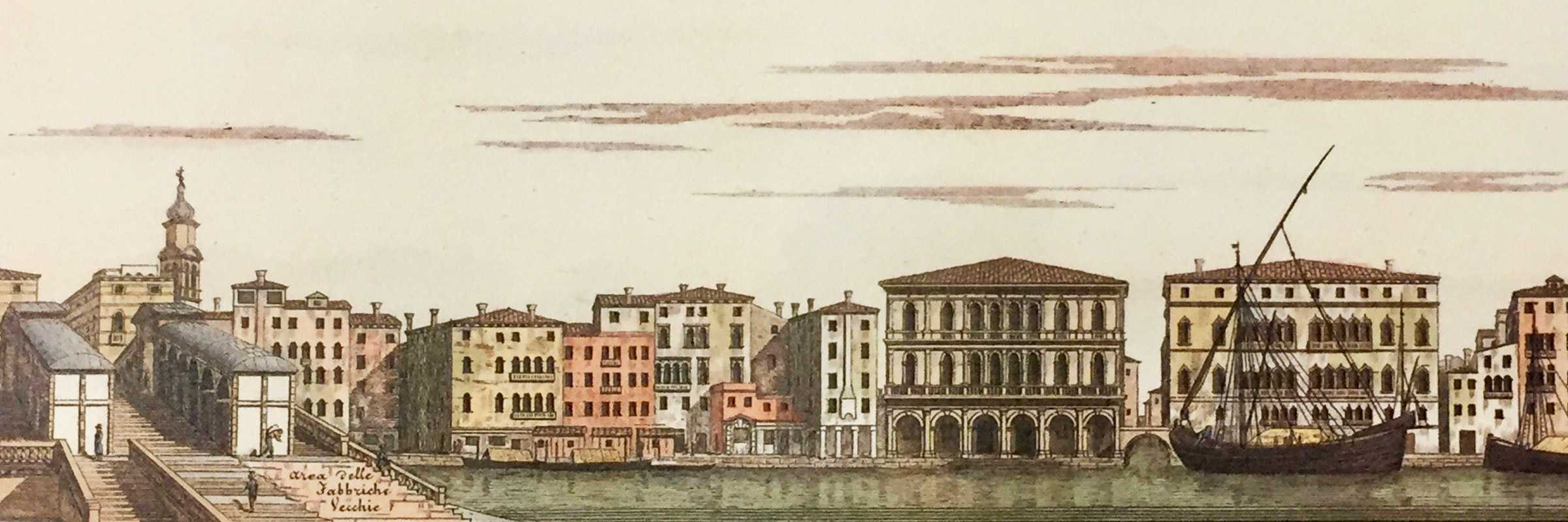 "Riva del Vin - watercolor facsimile reproduction of the precious nineteenth-century edition ""Grand Canal and St. Mark's Square, described by Antonio Quadri, taken over and engraved by Dionisio Moretti"" - (Supernova, Canal Grande e Piazza San Marco, courtesy)."