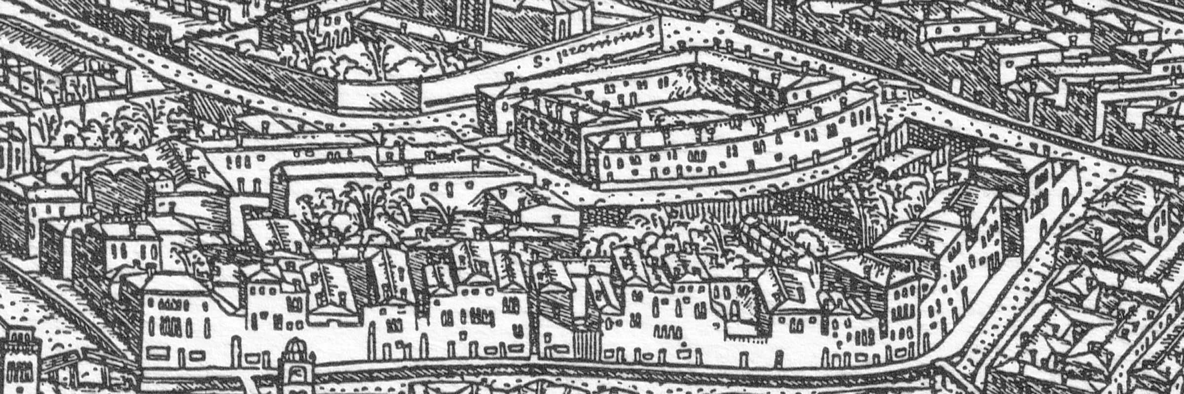 The Ghetto in the 16th century map by Jacopo De Barbari — (Venipedia/Bazzmann Archive)