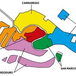 Sestieri di Venezia: schema a colori della suddivisione della città.
