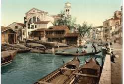 Lo Squero di San Trovaso, uno dei pochi ancora funzionanti. (Library of Congress - Detroit Publishing Company)
