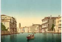 Una gondola con a bordo dei militari lungo il Canal Grande (Library of Congress - Detroit Publishing Company)