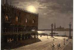 Visione notturna di Palazzo Ducale e l'isola di San Giorgio Maggiore (Library of Congress - Detroit Publishing Company).