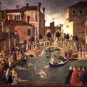 Miracolo della reliquia della Croce al ponte di San Lorenzo, Gentile Bellini, (Venezia, 1429-1507)